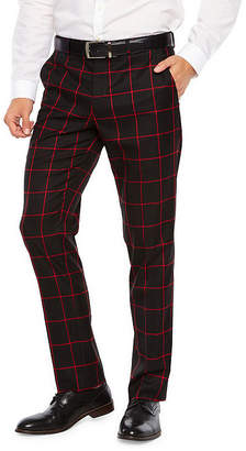Jf J.Ferrar Windowpane Super Slim Fit Stretch Suit Pants