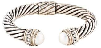 David Yurman Pearl & Diamond Cable Classics Cuff Bracelet
