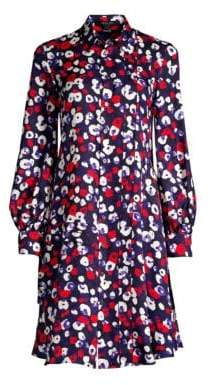 Derek Lam Long-Sleeve Poppy Print Silk Shirt Dress