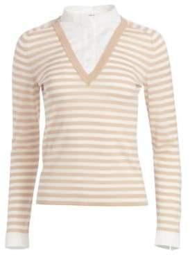 Akris Punto Illusion Collar Striped Sweater Top