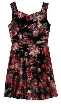 Pippa & Julie Girls' Floral Velvet Shimmer Dress - Big Kid