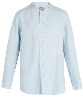 By Walid - Dyed Linen Shirt - Mens - Light Blue