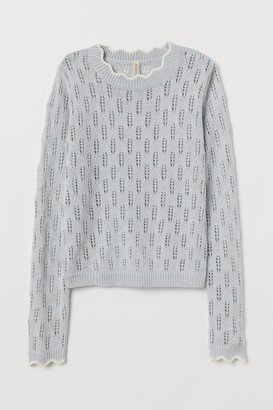 H&M Pointelle-knit Sweater - Gray
