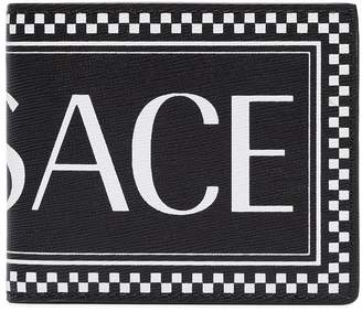 Versace black and white leather logo wallet