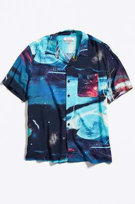 Urban Outfitters Planets Rayon Short Sleeve Button-Down Shirt