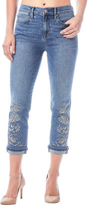 Nicole Miller New York High-Rise Embroidered Straight Ankle Jeans
