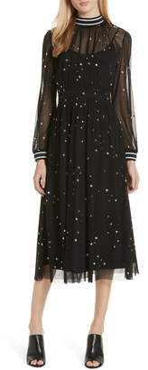 Tory Burch Star Print Ruched Midi Dress