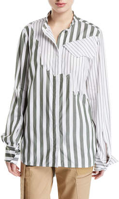 Monse Olive Torn Mixed-Stripe Button-Front Shirt