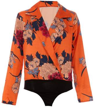 Quiz Orange Satin Floral Long Sleeve Bodysuit