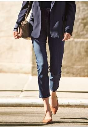 Next Womens Dark Blue Slim Leg Cropped Jeans - Blue