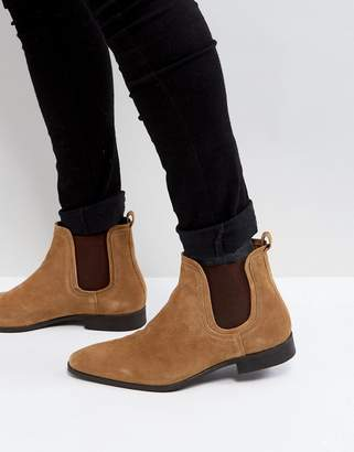 Zign Shoes Suede Chelsea Boots In Cognac