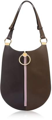 Marni Coffee Wenge And Powder Pink Leather Earring Shoulder Bag