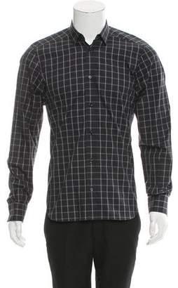 Christian Dior Check Print Button-Up Shirt