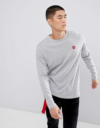Wood Wood Mel Long Sleeve T-Shirt With AA Logo In Gray