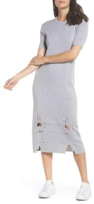 CAARA Distressed Knit Midi Dress