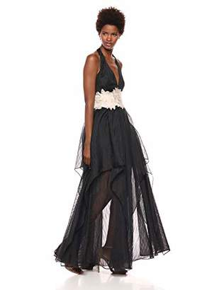 Halston Women's Halter V Neck Organza Embroidered Waist Gown