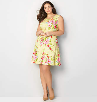 Avenue Diagonal Seam Floral Fit and Flare Dress