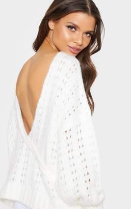 7ea38d6d4f4706 PrettyLittleThing Grey Laguna Open Back Knitted Jumper