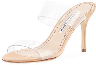 Manolo Blahnik Scolto PVC Two-Strap Sandal