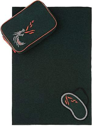 Barneys New York Dragon Flame Cashmere Travel Throw & Eye Mask Set