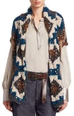 Brunello Cucinelli Hand Knit Short-Sleeve Cashmere Cardigan