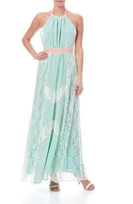Champagne & Strawberry Mint Maxi Dress