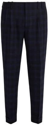 Paul Smith Check Wool Slim Leg Trousers - Mens - Blue Multi