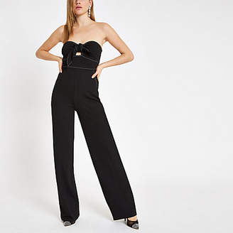 River Island Black bow front bandeau tapered leg jumpsuit