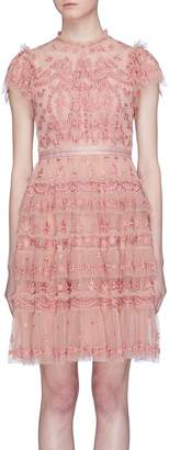 Needle & Thread 'Darcy' floral embroidered tiered tulle dress