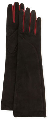 Portolano Suede-Contrast Long Gloves, Black