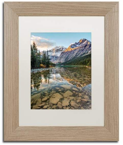 Buy Trademark Fine Art Pierre Leclerc 'Mount Edith Cavell Sunrise' Matted Art, Birch Frame!