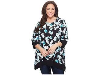 Calvin Klein Plus Plus Size Three-Quarter Sleeve Printed Sharkbite Top Women's Long Sleeve Pullover