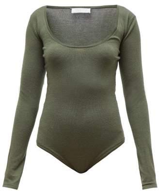 Gabriela Hearst Emily Scoop Neck Cashmere Blend Bodysuit - Womens - Green