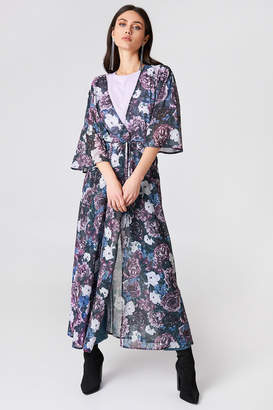 Na Kd Boho Chiffon Coat Dress Red Flower