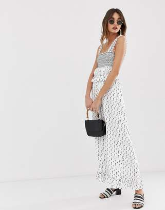 Lost Ink jumpsuit with wide leg and shirred bodice in romantic print