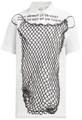 Burberry Fish Net Printed Cotton Polo Shirt - Womens - White Black