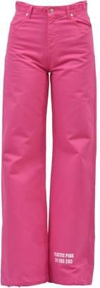 MSGM Bull Flare Denim Jeans Fuchsia