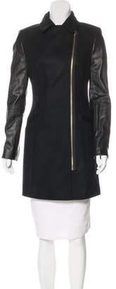 Ted Baker Leather-Paneled Wool Coat