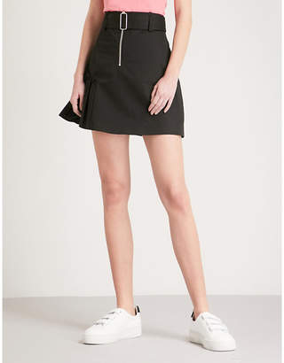 Sandro Frilled-panel cotton mini skirt