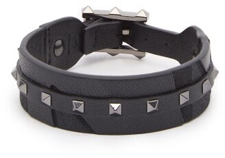 Valentino - Rockstud Camouflage Leather And Canvas Bracelet - Mens - Black
