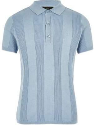 River Island Boys RI blue wide ribbed polo shirt