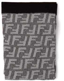 Fendi Ff Jacquard Metallic Tights - Womens - Silver