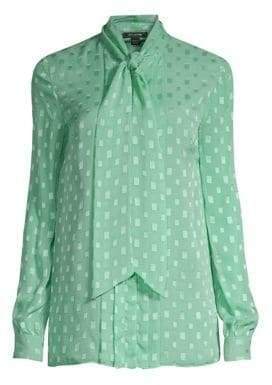 St. John Silk Rectangle Tie-Neck Blouse