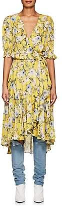 Icons Women's Ruffle Floral Wrap Dress - Yellow