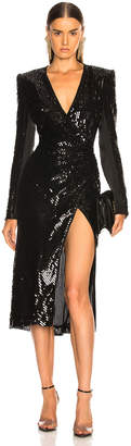 David Koma Sequin Long Sleeve Dress