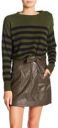 Vince Shoulder Button Striped Cashmere Sweater