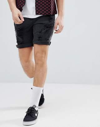 Asos Design DESIGN denim shorts in slim washed black with heavy rips