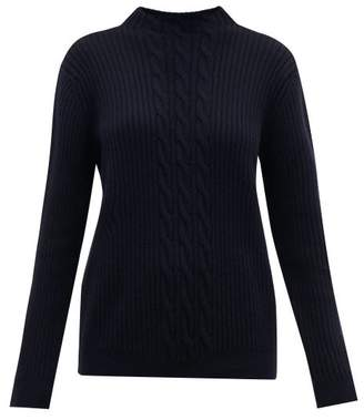 A.P.C. Nico Cable Knit Wool Blend Sweater - Womens - Navy