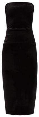 Norma Kamali Strapless Velvet Midi Dress - Womens - Black