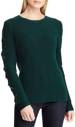 Lauren Ralph Lauren Long-Sleeve Lace-Up Cotton Sweater